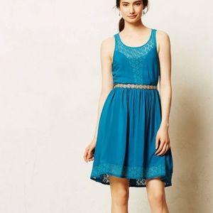 Lilka Teal Matepe Crochet Lace Dress